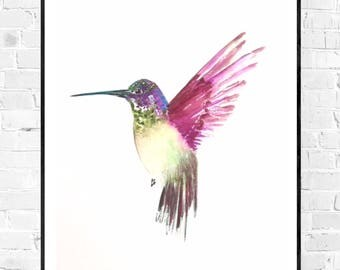 Original Hummingbird Watercolor-Hummingbird painting-Original water color-water color bird-Zen water color-colorful art-original painting-wall art