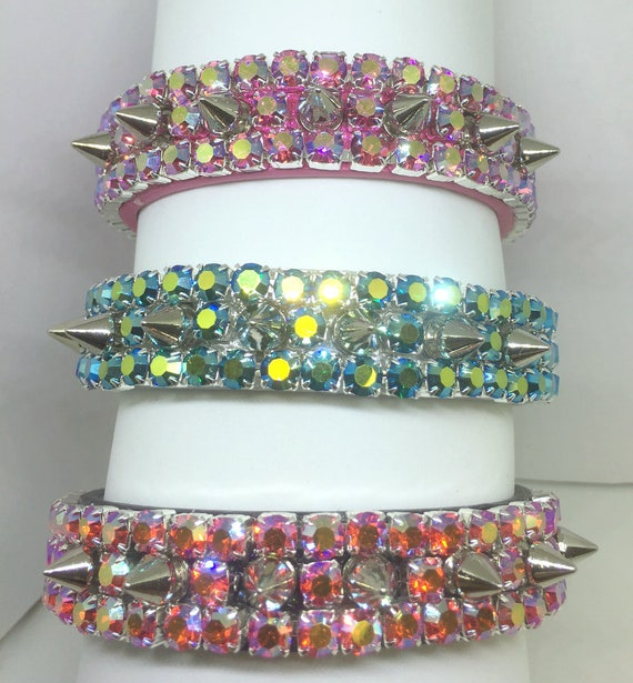 Cutie Pie Pet Collars ® ~Heavenly Emerald, Pink, Orange Aurora Diamond Spikes~Wide PU Leather Dog Pet Collar USA