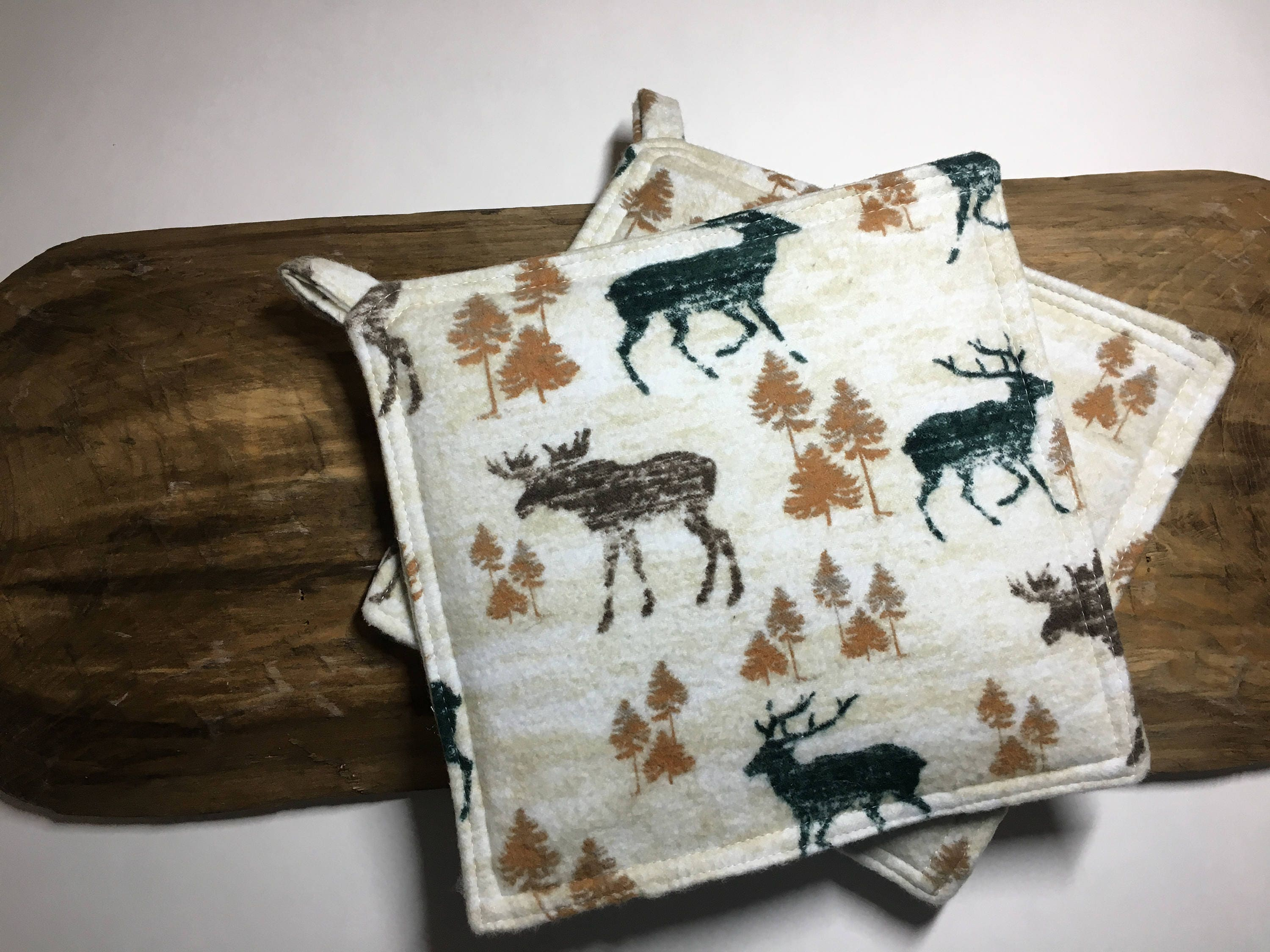 Camp Decor Pot Holders Rustic Kitchen Decor Deer Pot Holder