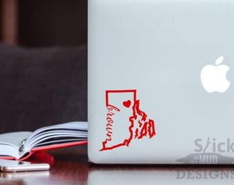 Brown Permanent & Custom State Vinyl Decal (Outline Style)