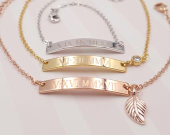 Personalized Roman Numeral Bar Bracelet, wedding date Bracelet, anniversary gift, bridesmaids gift,To celebrate a special day