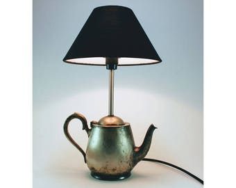 Vintage plated silver tea pot converted to a unique table lamp