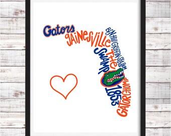 Universität Von Florida Alligatoren | Druckbare Kunst |  College Student Geschenk | College