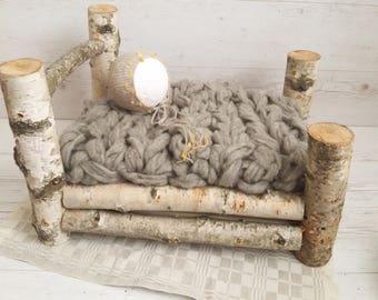 RTS  Newborn Set Bonnet, Chunky Wool Layer, Linen Layer, Newborn Photo Prop Set, Photo Prop for Newborn