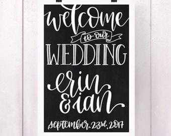 Wedding Welcome Sign - Digital Print, Downloadable Print, Printable Art, Wedding Sign, Fully Customizable, Canvas, Canvas Print, Chalkboard