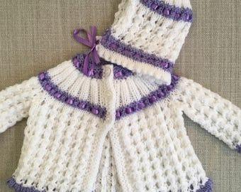 Newborn Baby Matinee Coat With Matching Bonnet