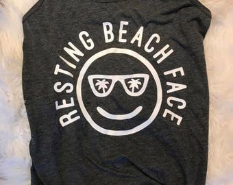 RESTING BEACH FACE tank // Relax Fit Resting Beach Face Razor Back Tank // Funny Womens Beach Tank // Beach Face