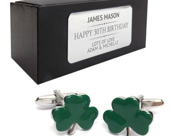 Green irish shamrock CUFFLINKS 30th, 40th, 50th, 60th, 70th birthday gift, presentation box PERSONALISED ENGRAVED plate - 001
