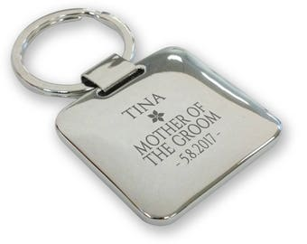 Personalised engraved MOTHER of the GROOM wedding keyring gift, silver plated deluxe pillow square keyring - SQU12
