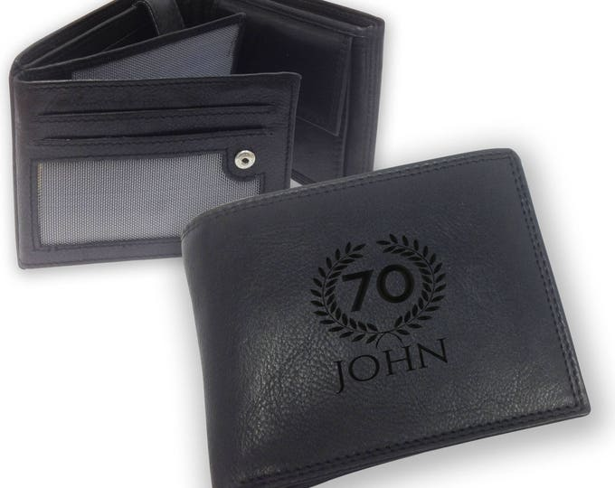 Personalised engraved 70th birthday LEATHER WALLET gift with coin purse - trifold personalized wallet, laurel - SAMBW70