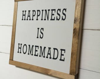 Happiness is Homemade Rustic Farmhouse Sign