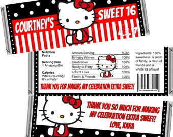 Hello Kitty Sweet 16 Sixteen Candy Bar Favors ~ Candy Bars or Wrappers Only ~ 1.55 oz Hershey Bar (SET OF 12) FREE Foil