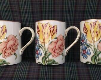 3 Fitz And Floyd White Bariolage des Fleurs Mugs