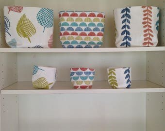 Six reversible baskets in assorted fabrics
