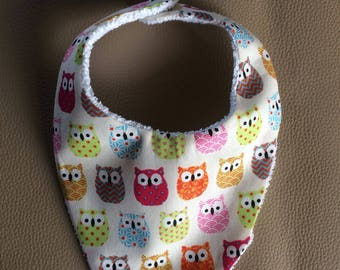 Terry bib, colorful owls. Free shipping!