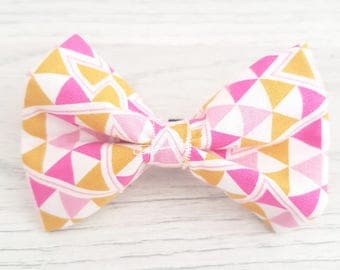 bow tie / dog accessories / pink bow / yellow bow / dog bowtie / dog bow /pink and yellow bows /