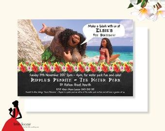 Moana Invitation, Maui Invitation, Moana Birthday, Moana Invite, Moana Party, Moana Printable, Moana Digital, Moana Card