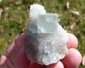 Pale Green Fluorite on Quartz