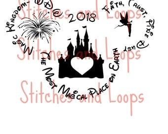 Disney Mickey Head Family 2017 Vacation Shirt SVG Magic Kingdom Custom Tink Castle File
