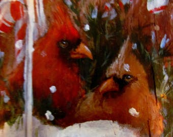 Hand-painted Cardinals and Ice Skates Sign