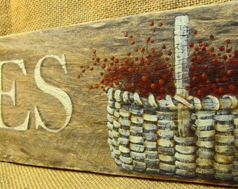 Antiques Barnwood Sign with Basket and Berries