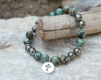 African Turquoise Natural Gemstones, Pyrite gemstones, Silver Plated Christian Cross Charm, Spiritual Stretch Bracelet