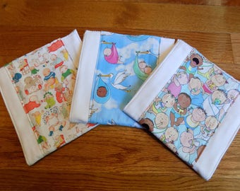 Set of 3 Babies! Burp Cloths - Baby Shower Gift