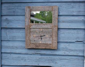 Barn wood mirror clock / bath/wood framed bathroom/reclaimed wood mirror/rustic clock