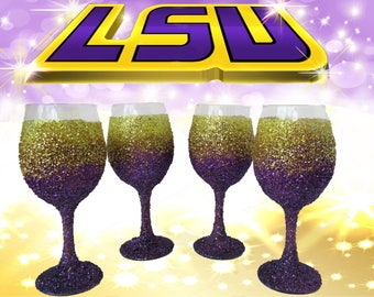 Purple and Gold Wine Glass