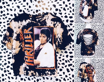 Michael Jackson Thriller Shirt - Shirt Distressed Shredded Shirt, Tee, Band Shirt, Repurposed, Reworked, Bleached