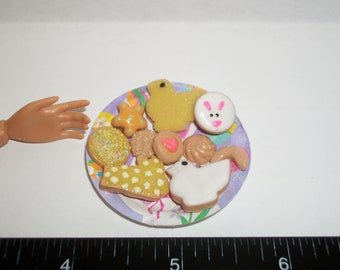 Dollhouse Miniature Handcrafted Easter Cookies ~ Dessert Doll Food ~ reference Barbie hand for size 929