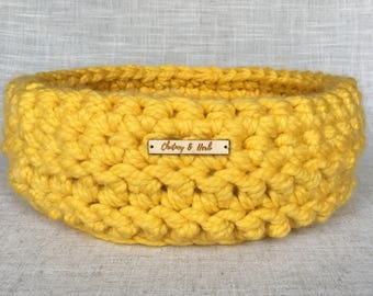 Cosy Cat Bed | Cosy Pet Bed | Cat Basket | Pet Basket | Crochet Cat Bed | Cat Furniture | Yellow |