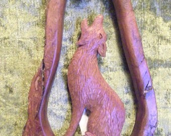 cottonwood bark wall hanging coyote and the moon