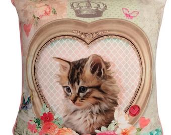 Handmade Kitten 2 with Velvet backs Filled Piped Big Cushion, 65cm x 65cm