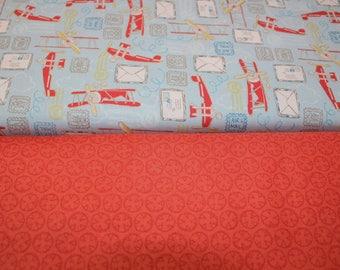 100% cotton fabrics, airplane, travel, orange