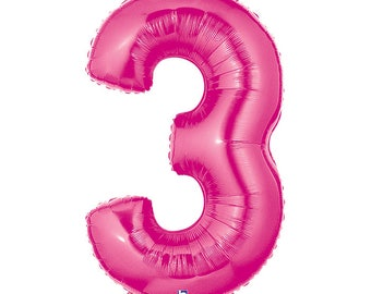 SHIPS FAST - Pink Megaloon Number Balloons,Pink Balloons, Giant Number Balloon, Big Number Balloons, Pink Balloon - Any Number