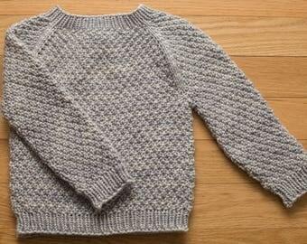 Handknit Baby Sweater - gray, size 18 months