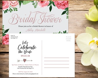 Bridal Shower Postcard Invitation with Setup, Bridal Shower, Floral Bridal Shower,  Shower Invitation, Printable Invitation, Wedding Shower