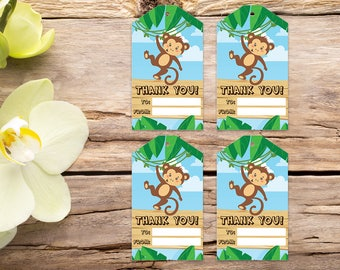 Monkey favor tags, jungle tags, safari thank you tag, jungle favor tags, party tags, thank you tags, party favor tags, printable tags