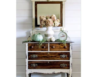 Sold Example: Farmhouse Cream Dresser And Mirror, Farmhouse Dresser, Painted  Furniture, Painted