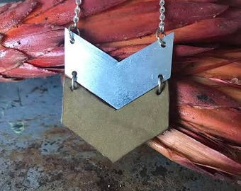 Industrial Recycled Metal Chevron Necklace Tan Leather