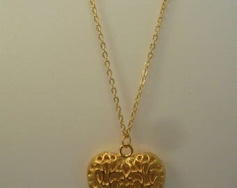 Large gold metal Heart Necklace
