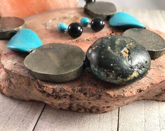 Pyrite, Turquoise, Blue Dust stone