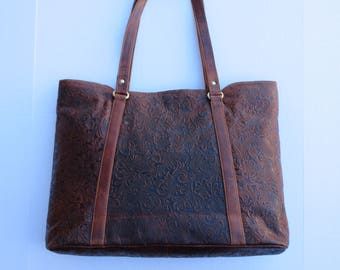 Embossed Brown Leather Tote