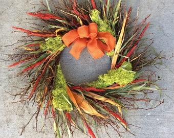 Wreath, Free Shipping Wreath, Dried Wreath, Preserved Wreath, Fall Wreath, Burlap Wreath, Natural Decoration