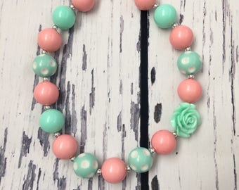 Mint and peach necklace