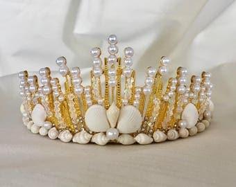 Lana Gold Shell Tiara, Beach Wedding Shell Crown, Beach Bride Headpiece