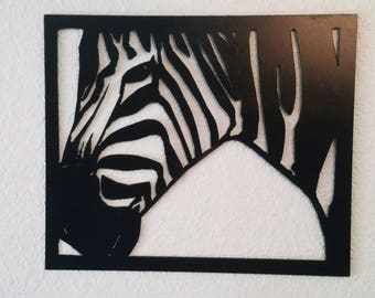 Zebra.  African Zebra Metal wall hanging.  Balck and White.  Built in frame.   Wildlife Zebra,  Contemporary Animal.