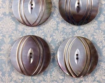 Vintage NBS Large Hand Carved Smoked Pearl Button