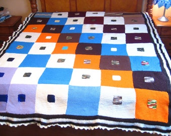 New Handmade Crocheted Bedspread / Comforter Full/Queen size, Patches, White/Orange/Blue/Lilac/Brown 100% Acrylic. Only 4.94 Shipping!!!